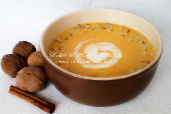 Крем-суп из тыквы с корицей и грецкими орехами