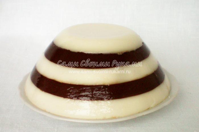 Желе Зебра на основе домашнего йогурта
