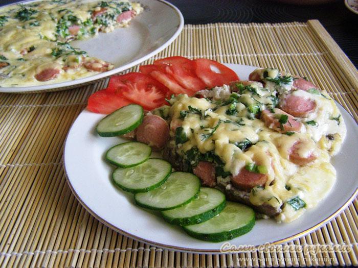 омлет с сосисками рецепт с фото