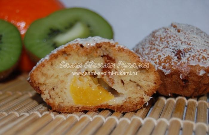 Рецепт шоколадных кексов с начинкой из консервированного персика