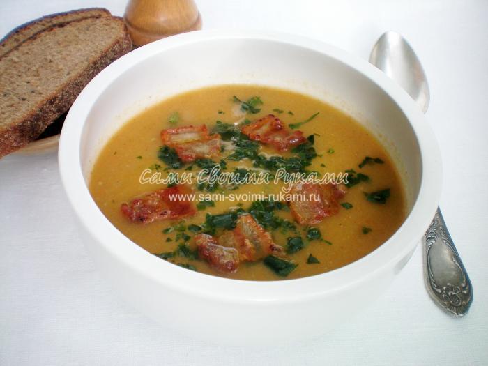 Рецепт овощного супа-пюре с хрустящими шкварками