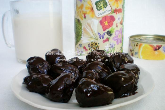 Рецепт чернослива с орехом в шоколаде
