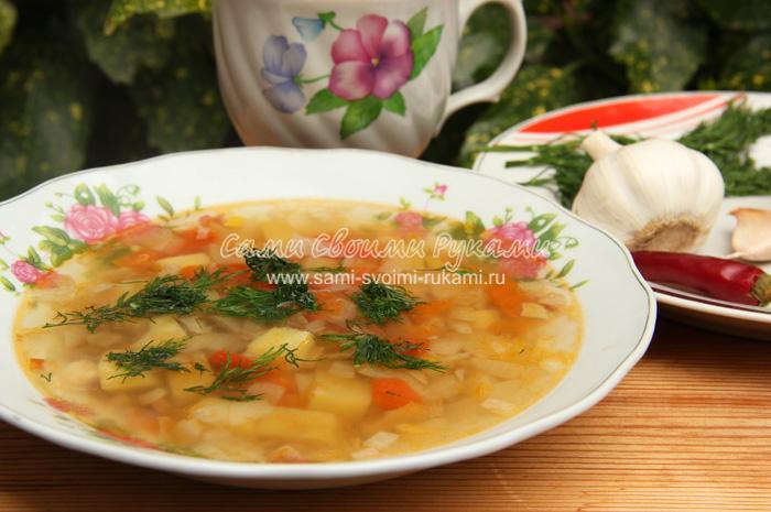 Суп чечевичный, постный