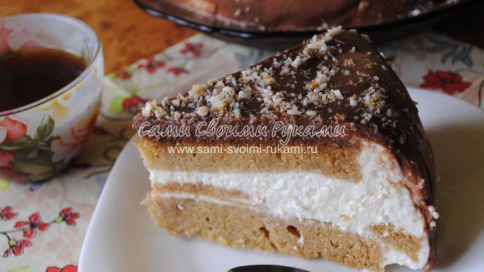 Ванильный торт с творожным кремом в мультиварке