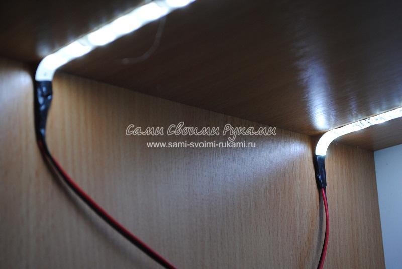 Монтаж светодиодных полос (самоклеящихся)