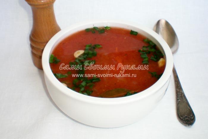 Рецепт постного томатного супа с рисом