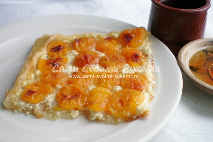 Песочный пирог с творогом и абрикосами. Рецепт с пошаговыми