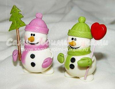 Новогодний снеговик из полимерной глины