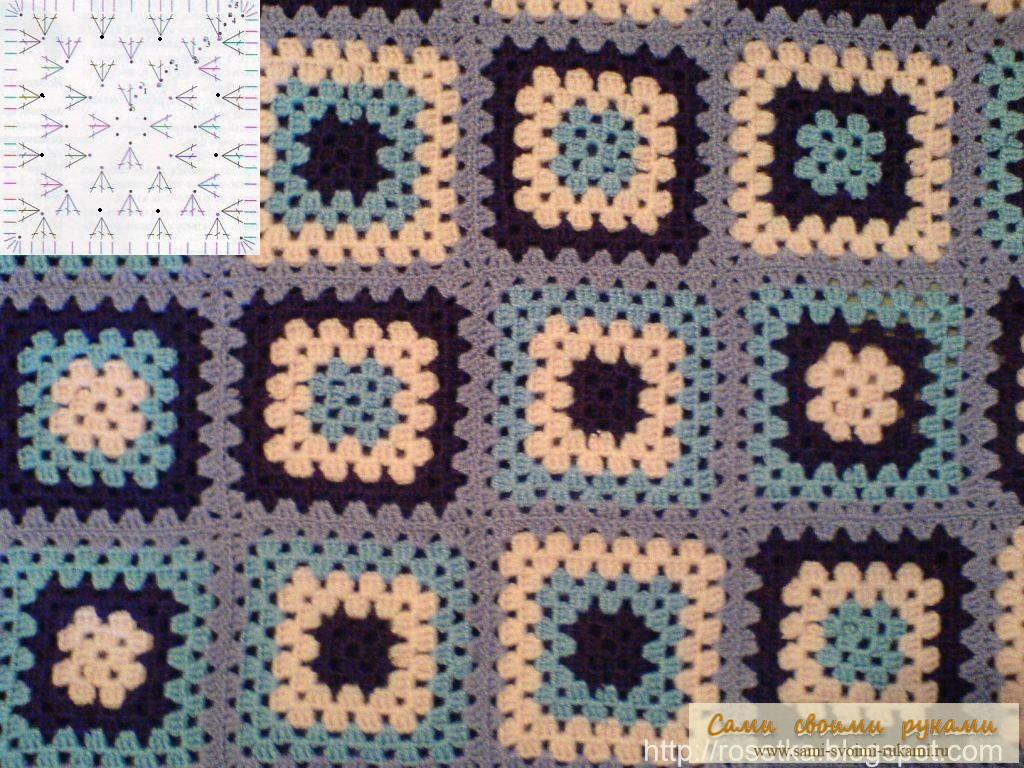 Бабушкин квадрат вязание спицами 1