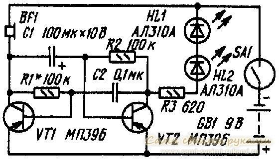 Имитатор (рис.1) представляет собой несимметричный мультивибратор, выполненный на двух транзисторах.