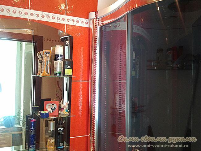 Красная ванная комната бело красный