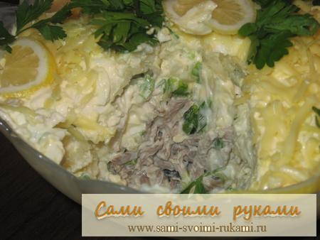 рецепт салата купеческий из свинины