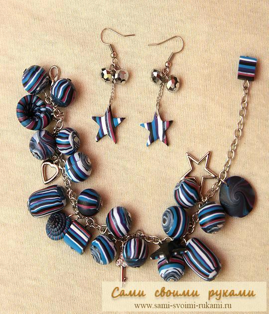 Полосатый браслет и серьги из полимерной глины