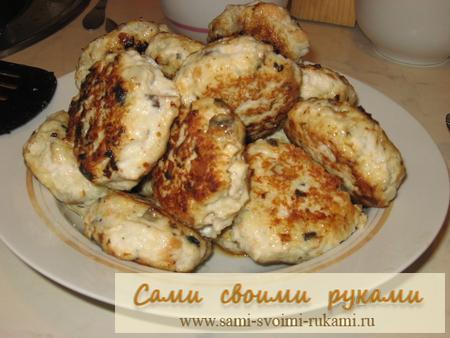 Куриные котлеты с грибами - фото рецепт