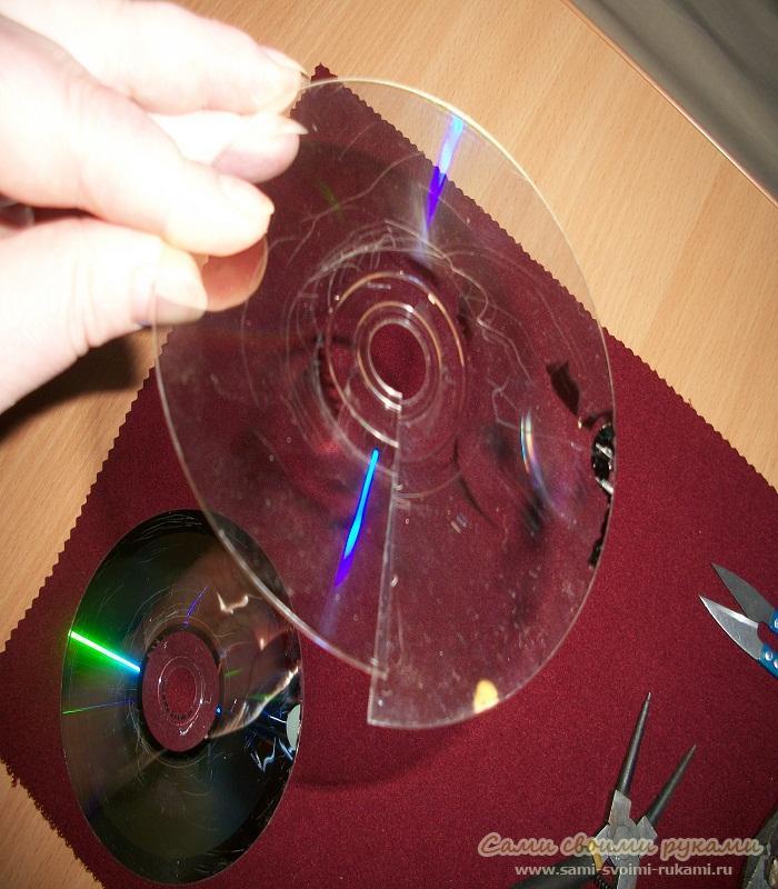 Цветы из дисков своими руками мастер класс