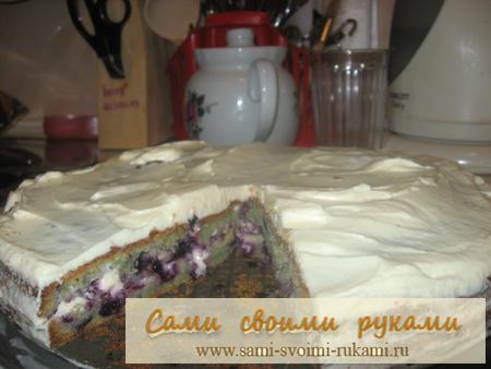 Черничный пирог со сметаной - рецепт