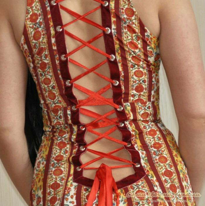 Как сшить на шнуровке в платье 137