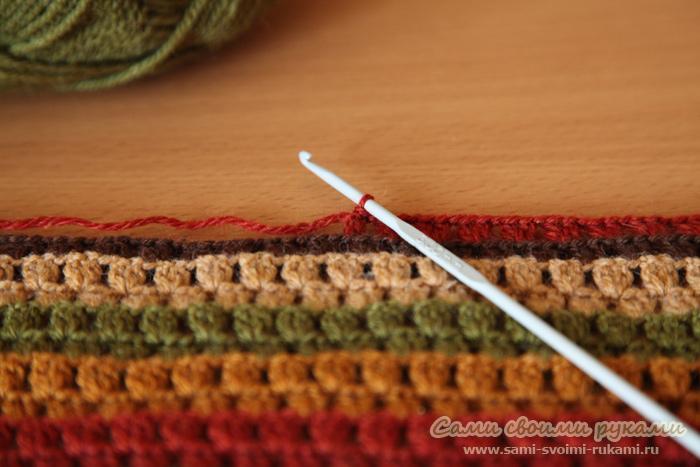 Вязание крючком пледа из квадратов для начинающих