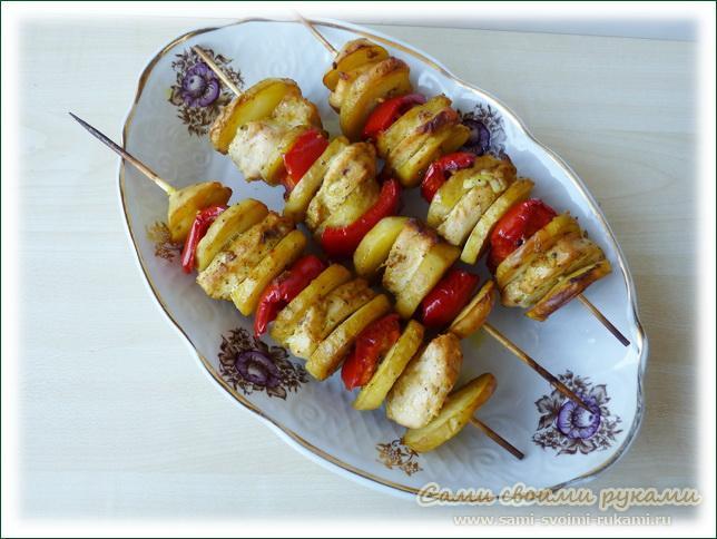Шашлычки  из куриного филе с овощами, мастер класс с фото
