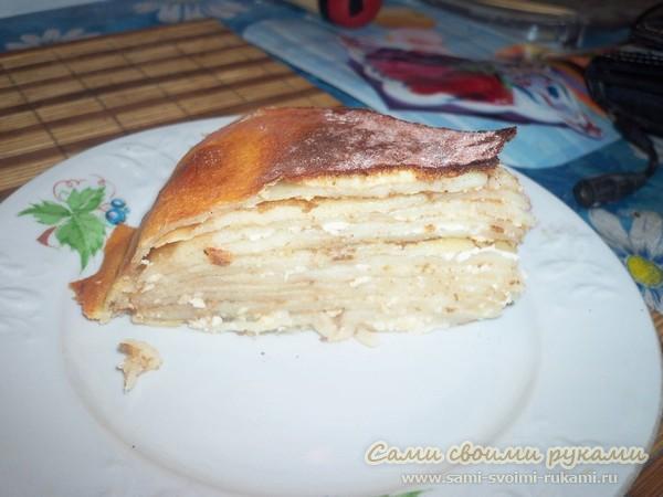 Блинный торт с творогом - рецепт с фото