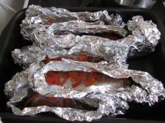 Сибас, фаршированный овощами и запечённый в фольге - рецепт с фото