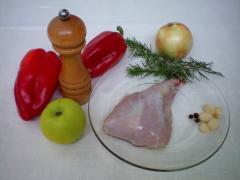 Кролик тушeный с болгарским перцем и ароматом розмарина