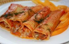 Каннеллони  - рецепты с курицей и грибами и фаршем