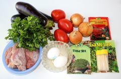 Рецепт кебаба с баклажанами и фаршем на шпажках