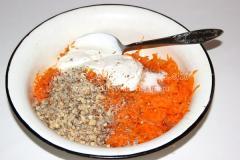 Рецепт осеннего салата (груши, тыква, орехи, морковка, сметана)