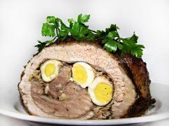 Рецепт свиного рулета с перепелиными яйцами