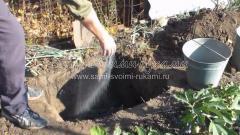 Заправка ямы минеральными удобрениями