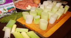 Лук порей фаршированный - рецепт приготовления