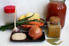 Ингредиенты для постного супа с томатами и рисом