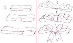 Как сделать бант из атласной ленты, несколько приемов складывания