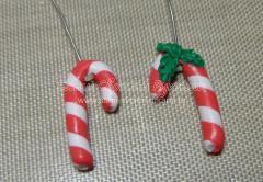 Серьги новогодние Леденцы из полимерной глины