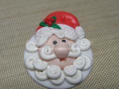 Брошка Дед Мороз из полимерной глины