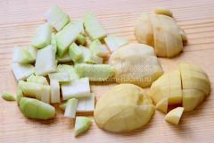 режу картофель, кольраби