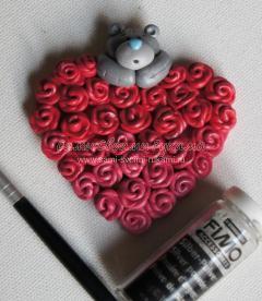 Магнит Сердце с Розами из полимерной глины на День Святого Валентина