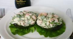 Рецепт креветочного салата с авокадо