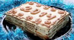 Торт без выпечки из печенья с творожным кремом