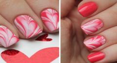 Как сделать водный маникюр на день Святого Валентина, Сердечки...