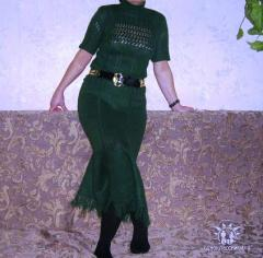 Юбка с бахромой - вяжем спицами, схема, описание, фото