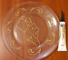 Декоративная тарелка - точечная роспись