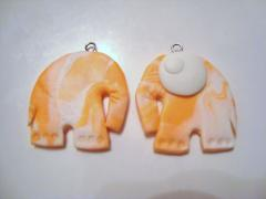 Влюбленные слоники - серьги из полимерной глины