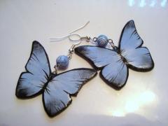Серьги Бабочки Тропические из полимерной глины