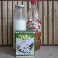 Cмесь для блестящих волос из молока, ромашки и яблочного уксуса