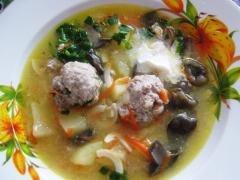 Как приготовить грибной суп с фрикадельками