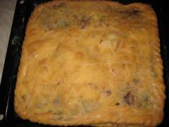 Блинный пирог с печенью и грибами двухслойный