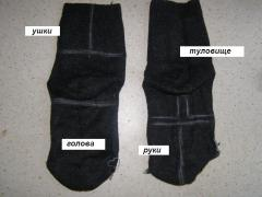 Мягкая игрушка из носка - Зайка