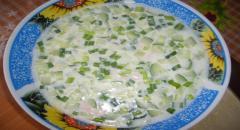 Окрошка - рецепт окрошки на сыворотке